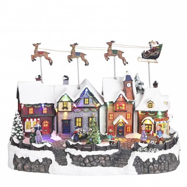 Bilde av Landsby julenisse og slede - juleby Luville