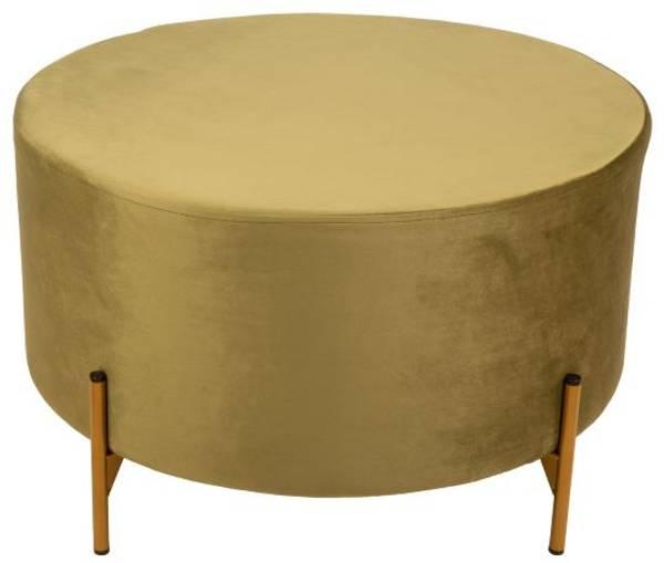 Puff rund Mosegrønn m/gullbein 70x42cm