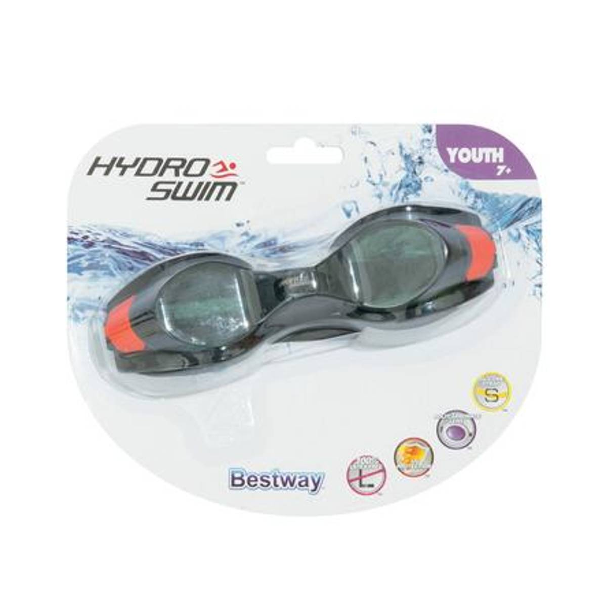 svart orange Hydro swim youth 7-14 år svømmebriller