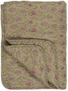 Bilde av Ib Laursen Quilt oliven m/rosa blomster