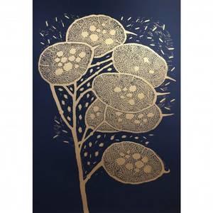 Bilde av Monika Petersen trykk Winter Branch gull/blå