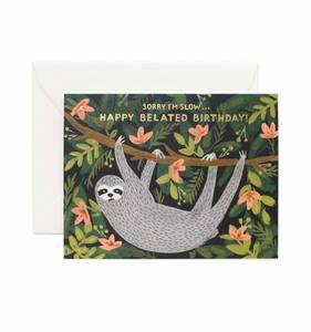 Bilde av Sloth Belated Birthday kort Rifle Paper Co