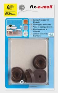 Bilde av Plastglider Hage Brun m skrue 24mm (4 stk)