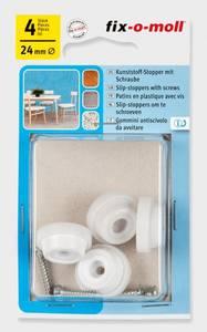Bilde av Plastglider Hage Hvit m skrue 24mm (4 stk)