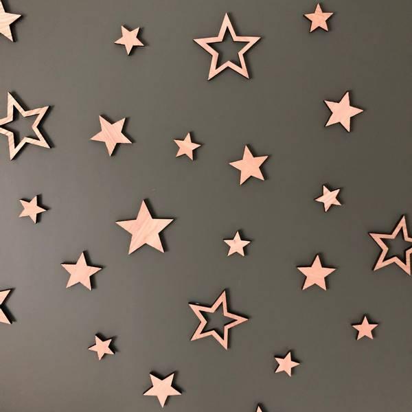 Bilde av Decoration stars 4x4 oak