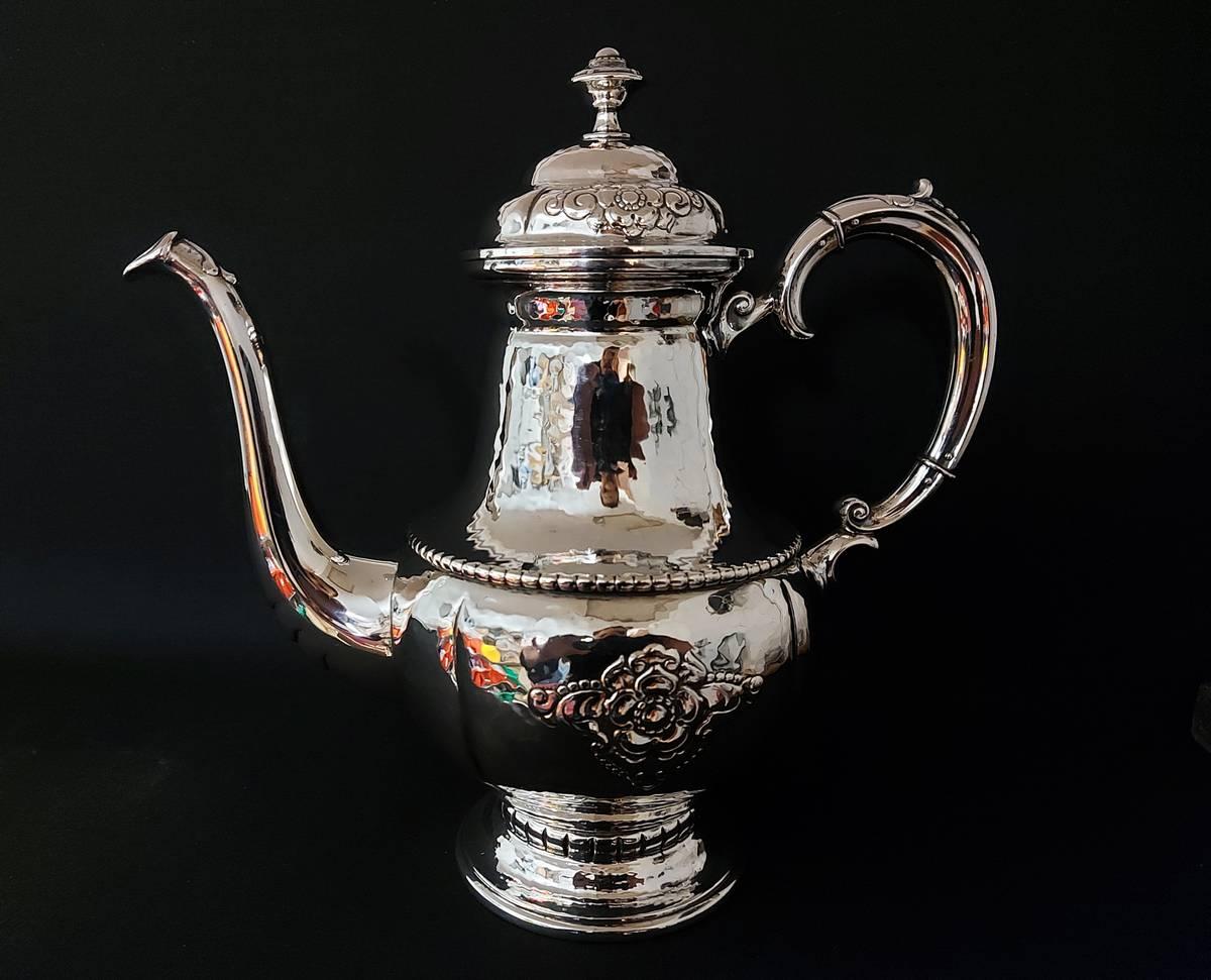 Sølv te- og kaffesett Hardanger, håndhamret