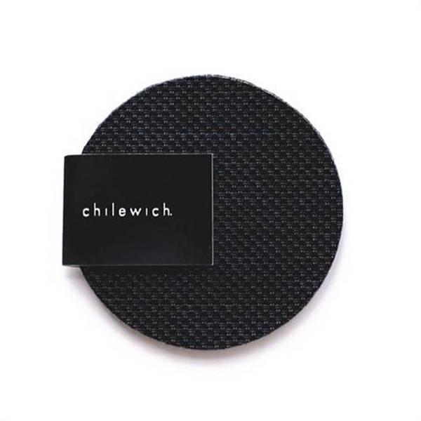 CHILEWICH Mini Basketweave Glassunderlag 4pk 10 cm Rund BLACK
