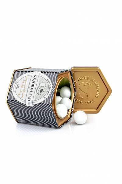 SAMBO Lakriskuler Snjoboltar, 160 gram metallboks