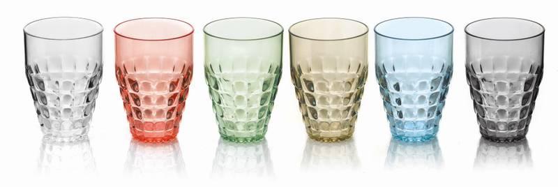 GUZZINI Tiffany Høye Plastglass, 6 pk forskjellige farger