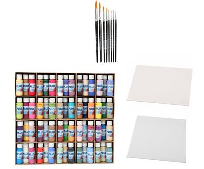 Malepakke - pensler - akrylmaling - plater
