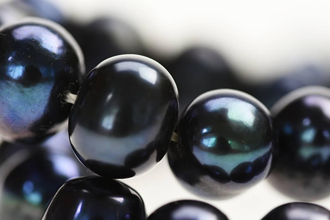 Perlearmbånd med krystallås, sort