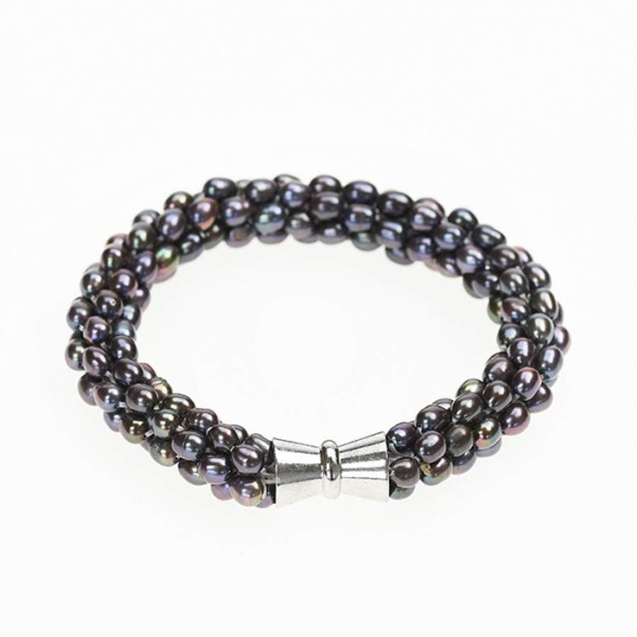 Perlearmbånd med magnetlås, sort perlemor
