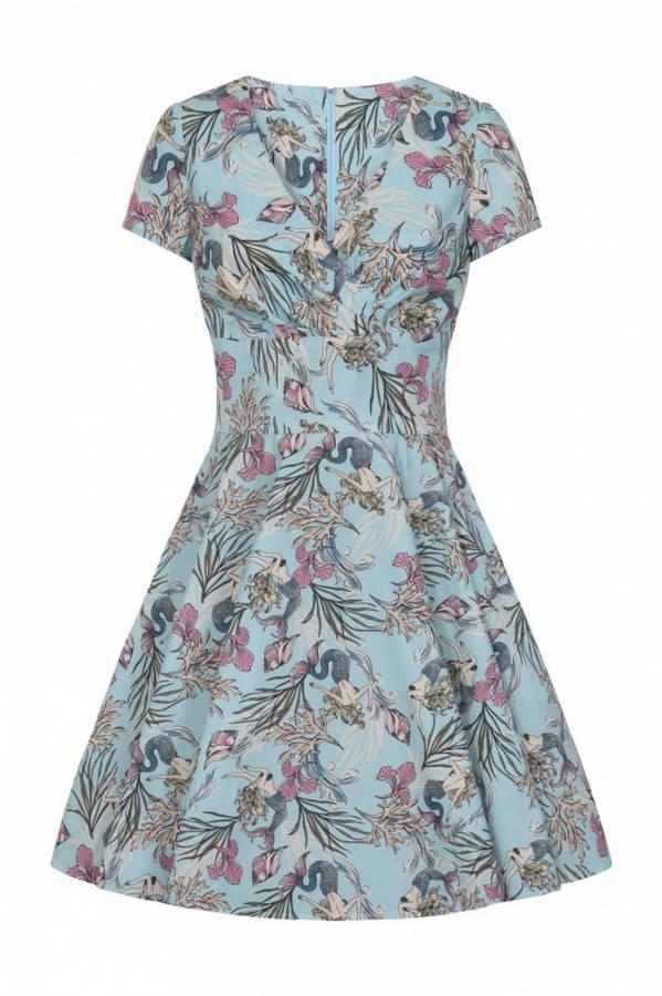 Hell Bunny utsving kjole Attina, lysblå m/mønster