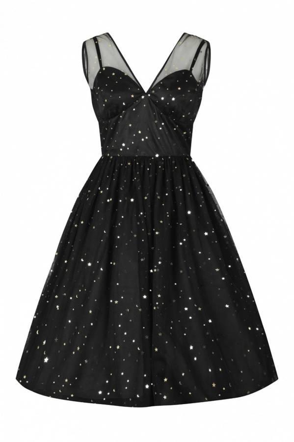 Hell Bunny Utsving kjole Infinity, sort m/stjerner