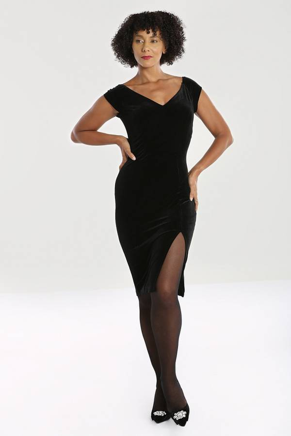 Hell Bunny figurnær kjole Film Noir, Sort fløyel