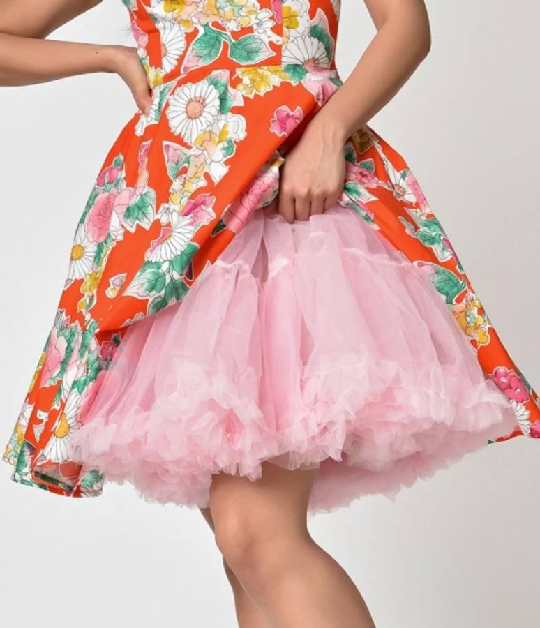 Hell Bunny Underskjørt Langt 50-talls Rosa Dolly Pink