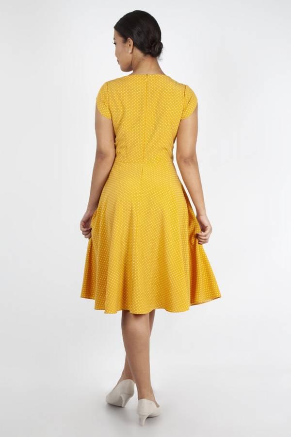 Voodoo Vixen Utsvingt kjole, Delia gul med hvite prikker