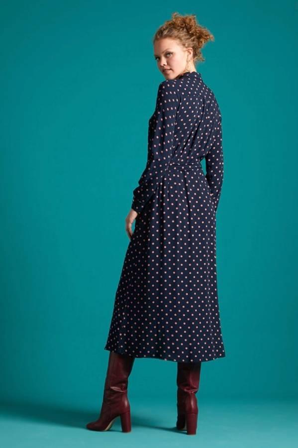 King Louie Midi kjole Rosie Pablo, Blå m/rosa prikker