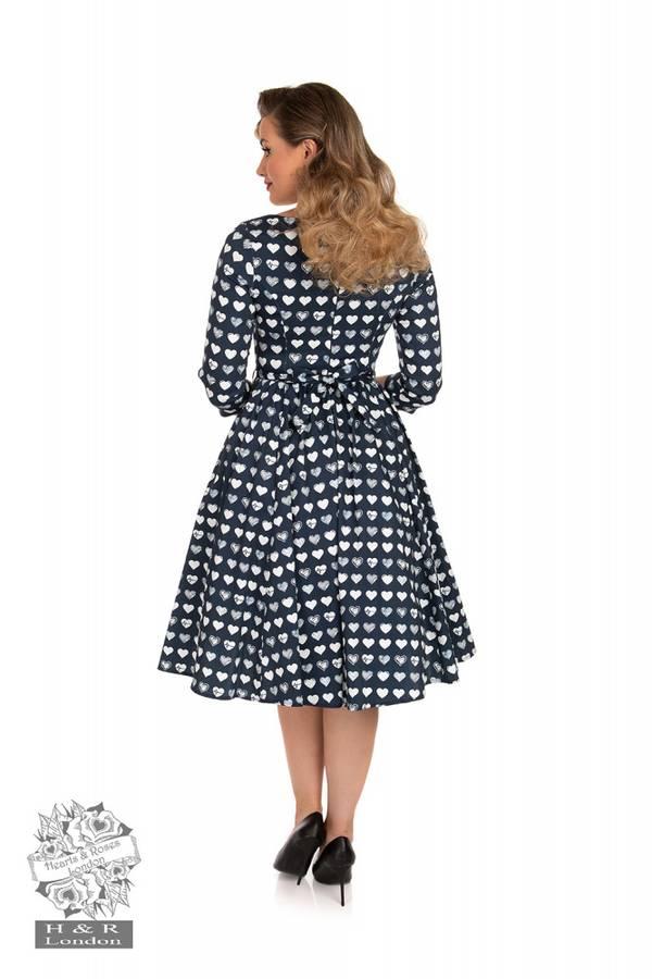 H&R Utsvingt kjole Piper, Blå med hjerter