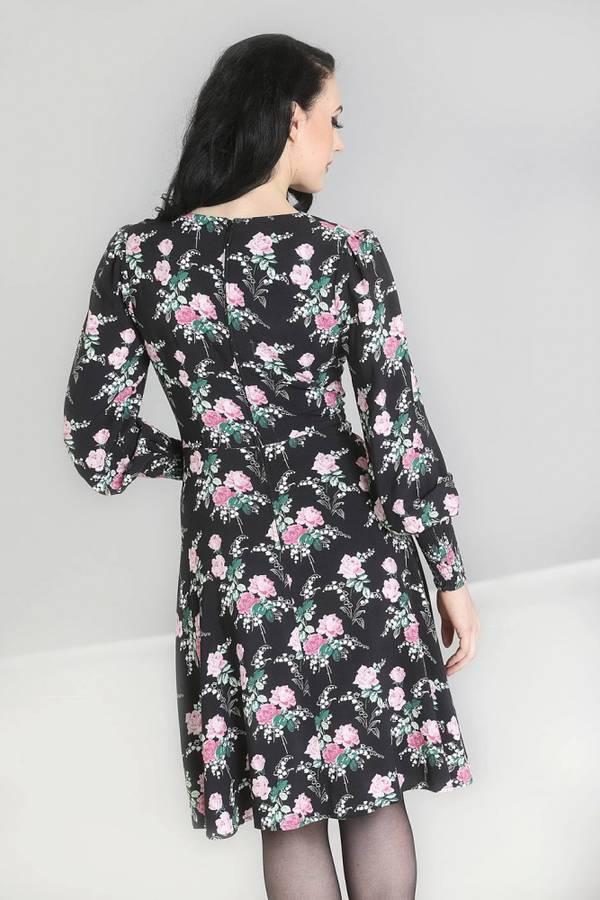 Hell Bunny Utsvingt kjole, Felicia Sort med blomster