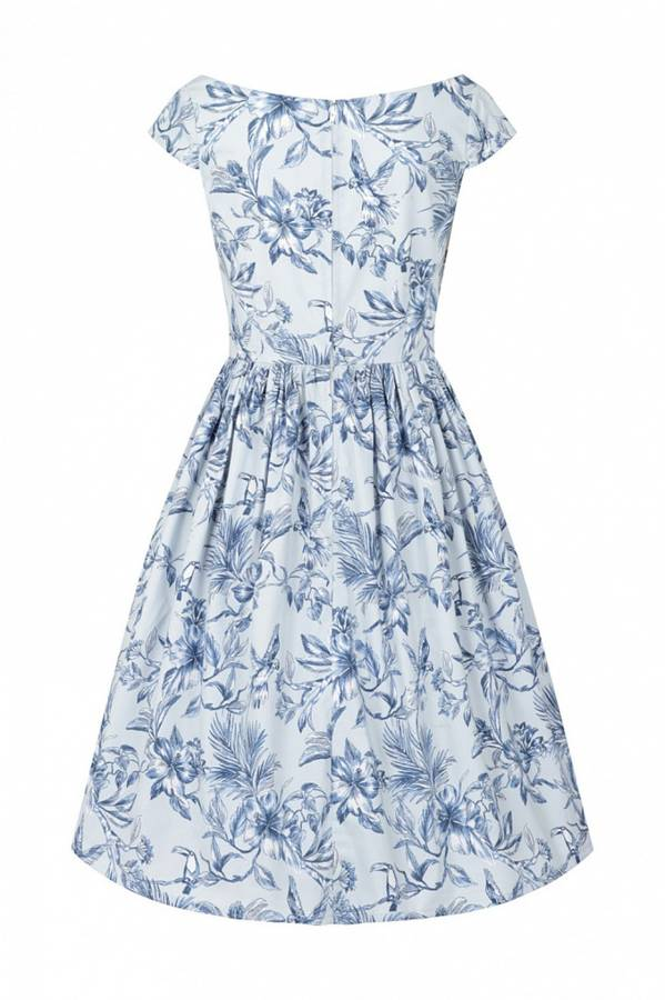 Hell Bunny utsvingt kjole Brasilia, lysblå m/blått mønster