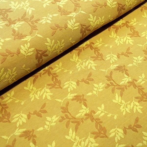Bilde av Økologisk bomullsjacquard, Shiny Leaves Oker