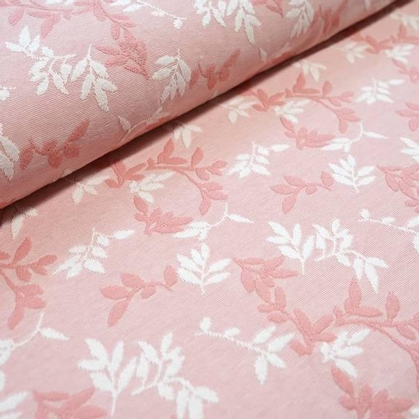 Bilde av Økologisk bomullsjacquard, shiny leaves lys rosa