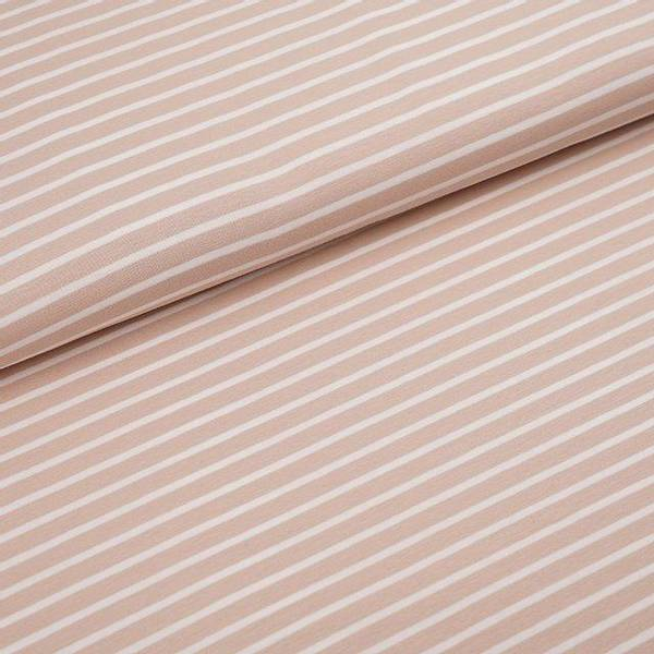 Bilde av Økologisk jersey, striper beige/hvit