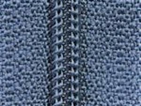 Bilde av 1 meter glidelås m. 4 glidere, gråblå
