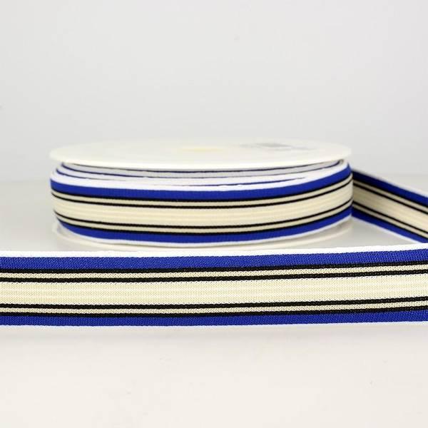 Bilde av Elastisk bånd 2,5cm bredt, striper blå/krem