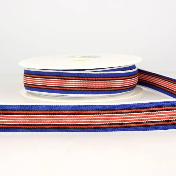 Bilde av Elastisk bånd 2,5cm bredt, striper blå/rød