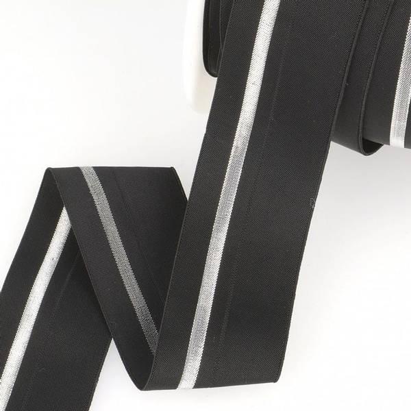 Bilde av Foldeelastikk 40mm, svart/sølv