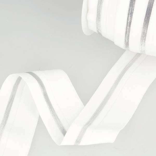 Bilde av Foldeelastikk 40mm, hvit/sølv
