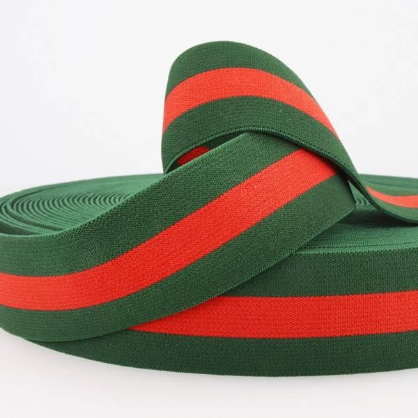 Bilde av 4cm stripet strikk grønn/rød