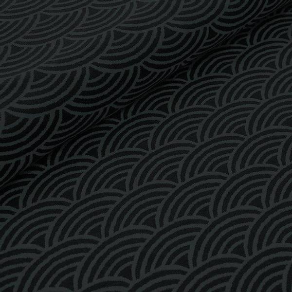 Bilde av Økologisk bomullsjacquard, regnbue grå/svart