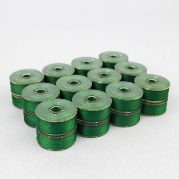 Bilde av 12stk ferdigspolet undertråd grønn, DB501