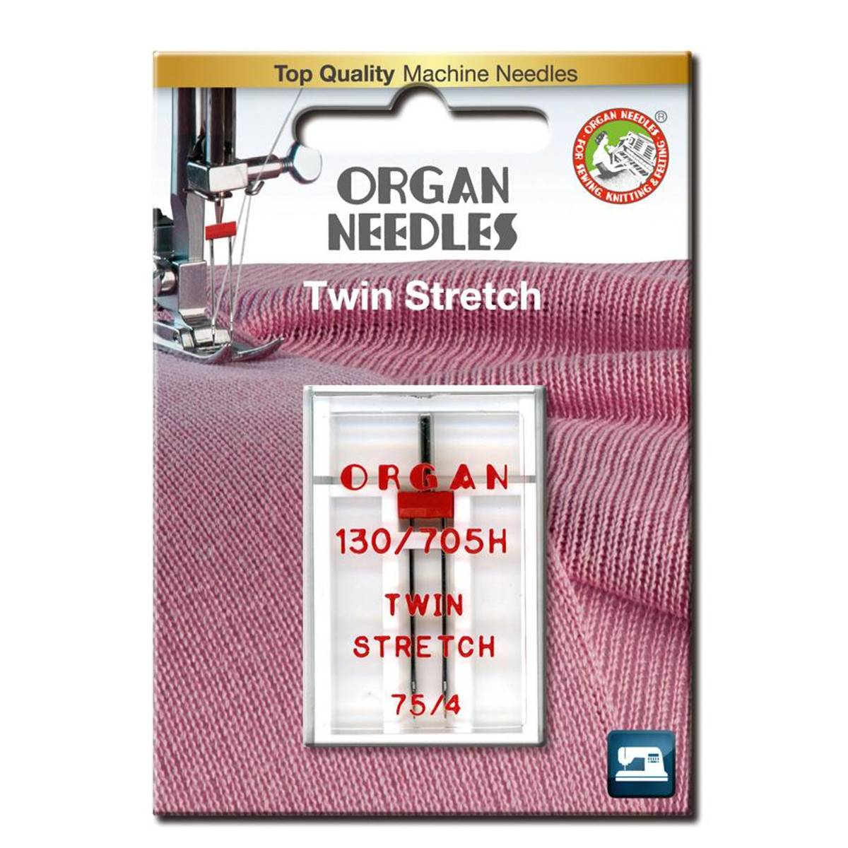 Organ tvillingnål stretch, 4mm, 75