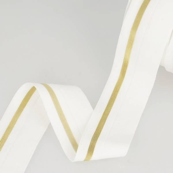 Bilde av Foldeelastikk 40mm, hvit/gull