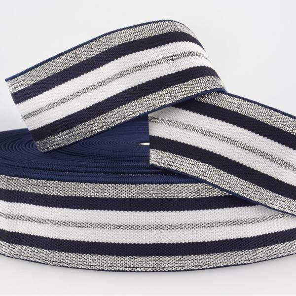 Bilde av 4cm stripet glitterstrikk, mørk blå/sølv