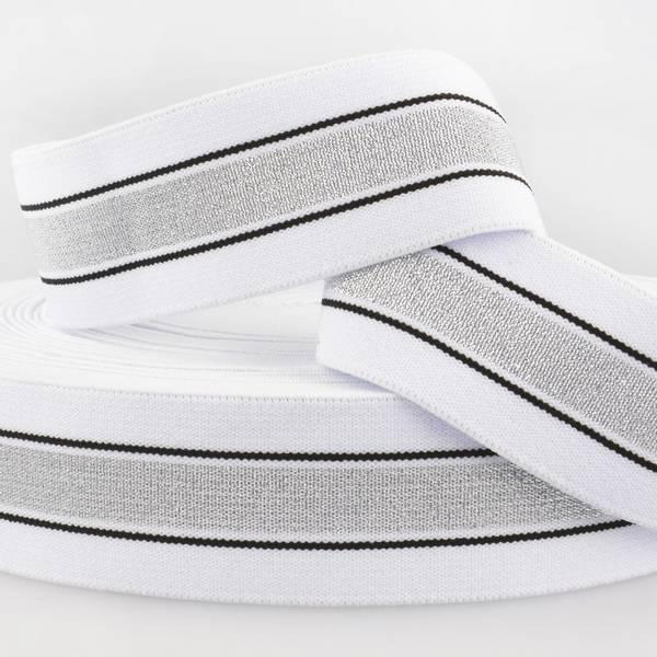 Bilde av 4cm stripet glitterstrikk, hvit/sølv