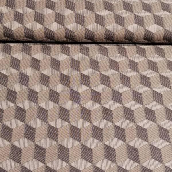 Bilde av Bomullspoplin, kuber grå/svart