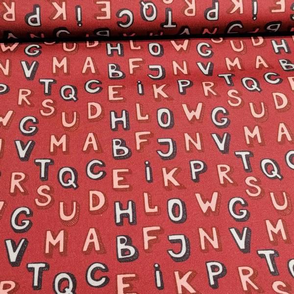 Bilde av Bomullspoplin, bokstaver burgunder