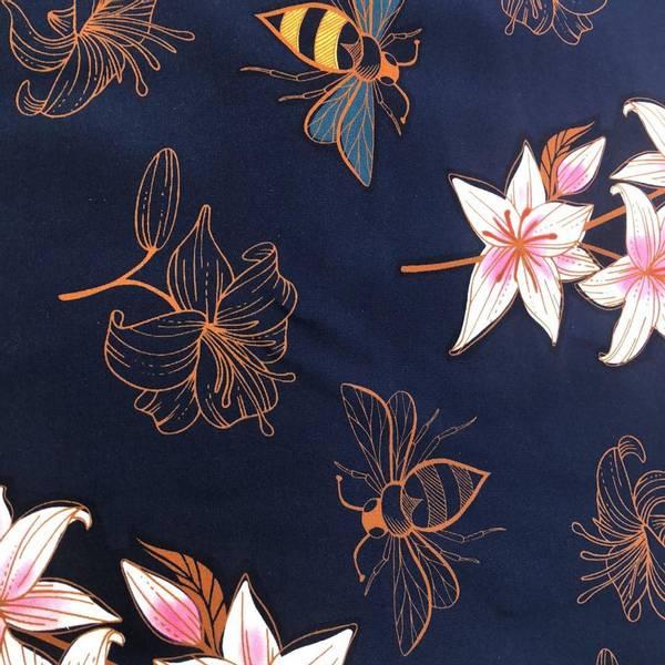 Bilde av  Økologisk jersey, liljer mørk blå