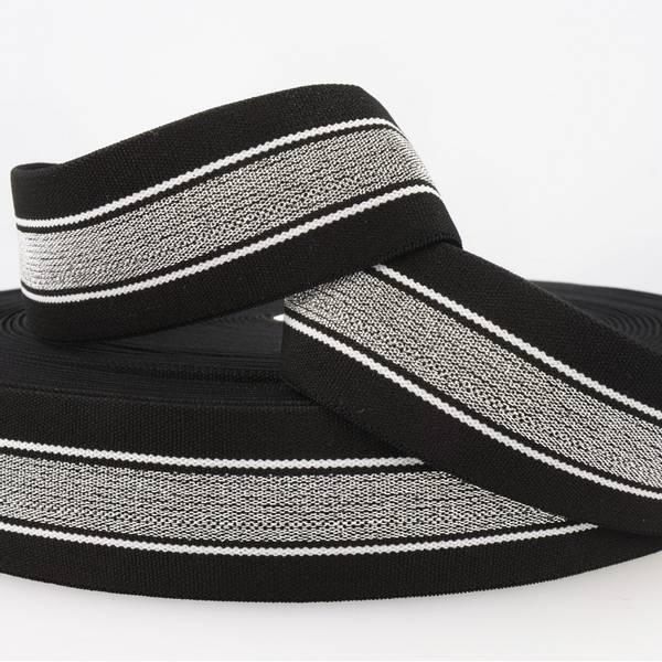 Bilde av 4cm stripet glitterstrikk, svart/sølv