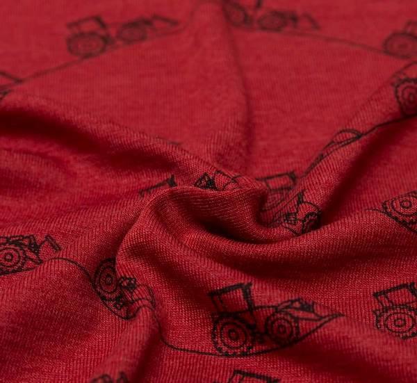 Bilde av Økologisk ull/silke, traktor rød