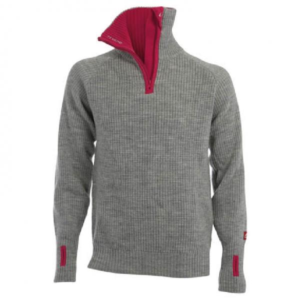 Bilde av Rav sweater w/zip Grey Melange/Beetrot