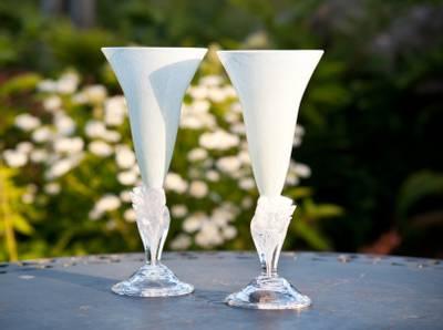 Kunstglass - Hvite piler