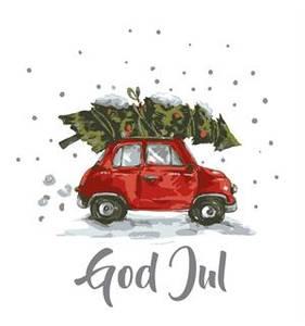 Bilde av Serviett lunch bil m/God jul