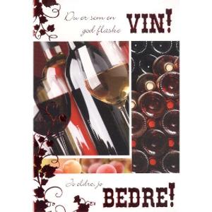 Bilde av Kort En god flaske vin...