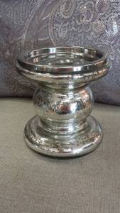 Bilde av Glass lysestake sølv 10x10cm